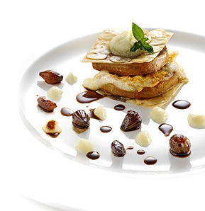 Photography recipe Gateau of goose liver, phyllo pastry and pear puree