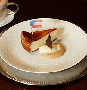 Photography recipe New York-Style Cheesecake With White Coffee Ice Cream & Coffee Sauce