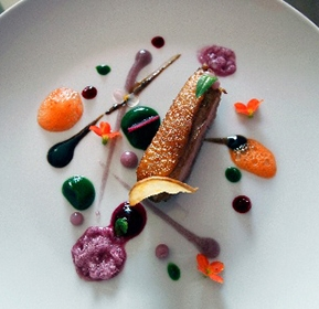 Photography recipe Rare Duck Breast, Beet, Potato, Spinach, Carrot, Chicha Morada And Citrus Hints, With Roast Bone Gravy