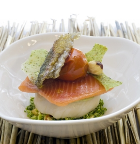Photography recipe Trout and Scallop, Cabbage, Broccoli and Pea Sauce