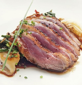 Photography recipe Honey roasted breast of duck, sauteed cabbage and mushroom-beer juice
