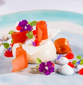 Photography recipe Coconut bavarois: rhubarb, red grapefruit and flowers