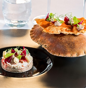 Photography recipe Crab, duck meat pate, bisque cracker, spring onion and sour cherry vinaigrette