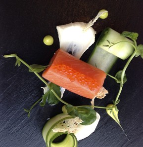 Photography recipe Drycured salmon with cucumber and sour cream