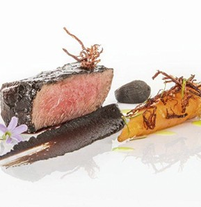 Photography recipe Deer in black garlic, pine-imbued carrots and crunchy fibres