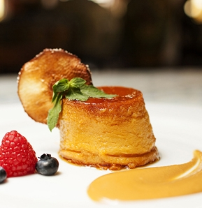 Photography recipe Coconut flan with caramel sauce